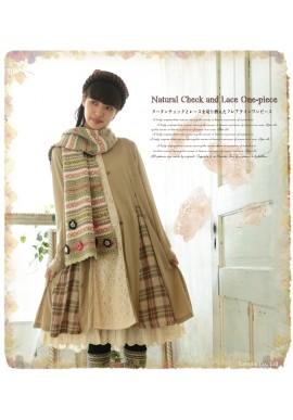 Robe tunique Mori Girl patchwork dentelle et tartan