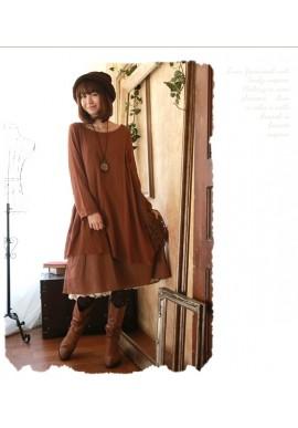 Robe tunique Mori Girl en lin et coton superposition et dentelle