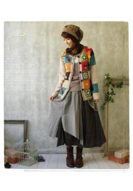 Jupe Mori Girl en superposition de tissus tartan et dentelle anglaise