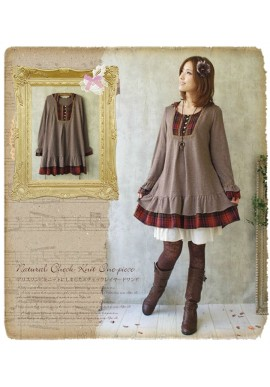 Robe tunique Mori Girl patchwork et tartan
